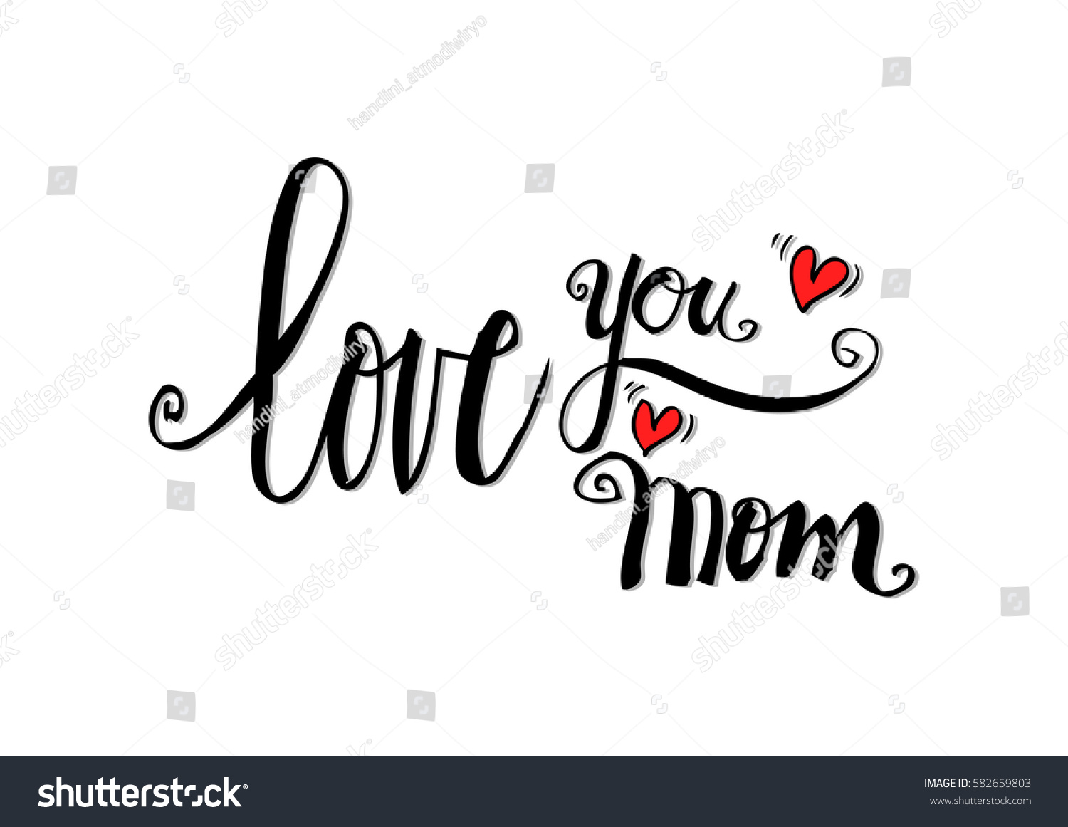 Love you mom hand drawing calligraphy stock vector