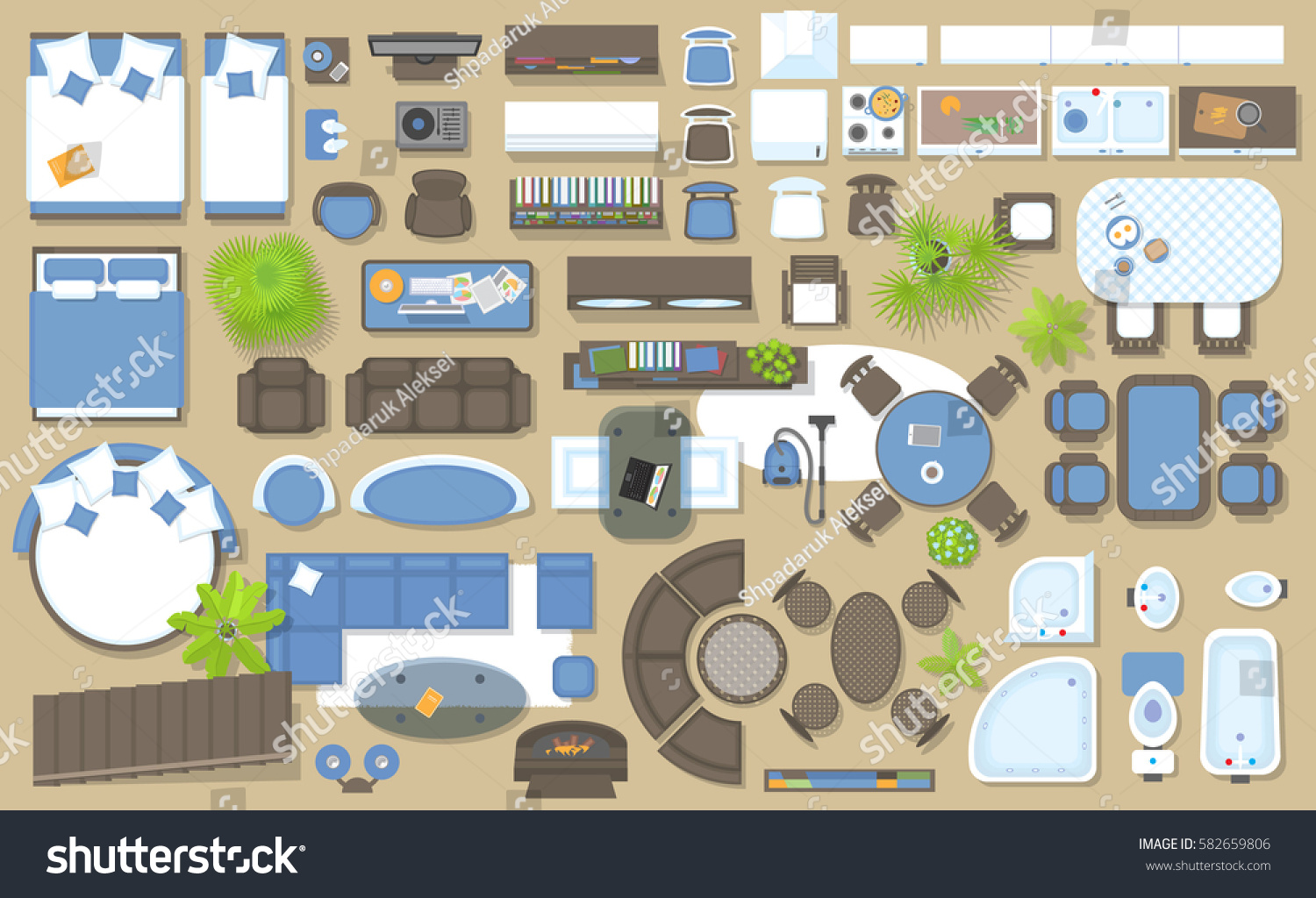 Icons set interior top view isolated stock vector for Room design elements