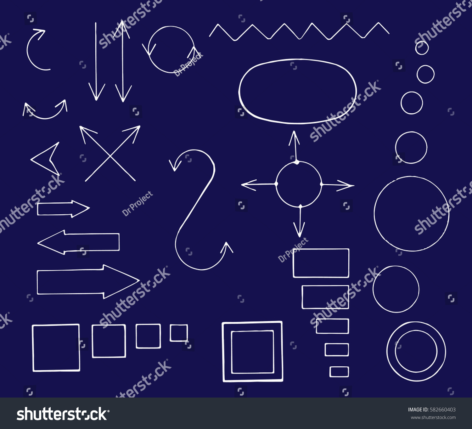 Architectural Engineering Signs Symbols Vector Hand Stock Photo