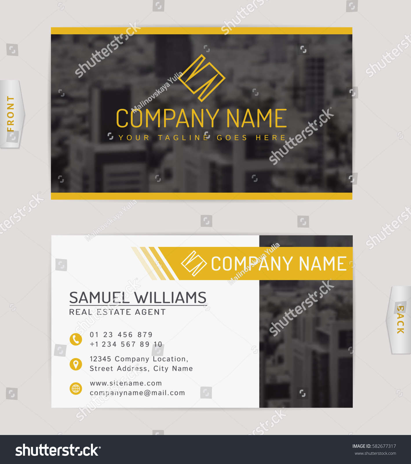 Business card real estate company vector stock vector 582677317 business card for real estate company vector template with blurred cityscape background magicingreecefo Image collections