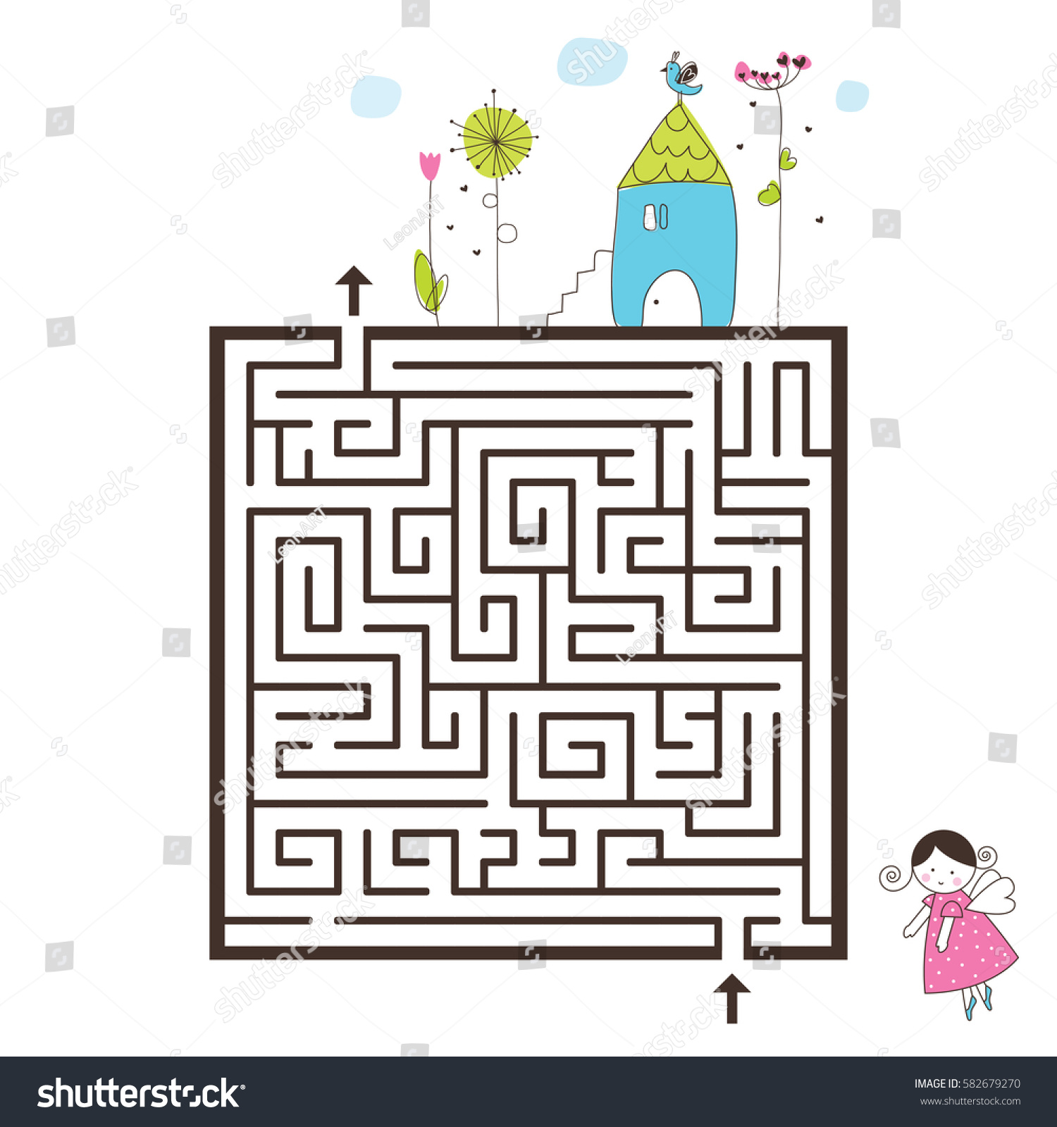 Labyrinth game image help find way stock vector 582679270 Find a house