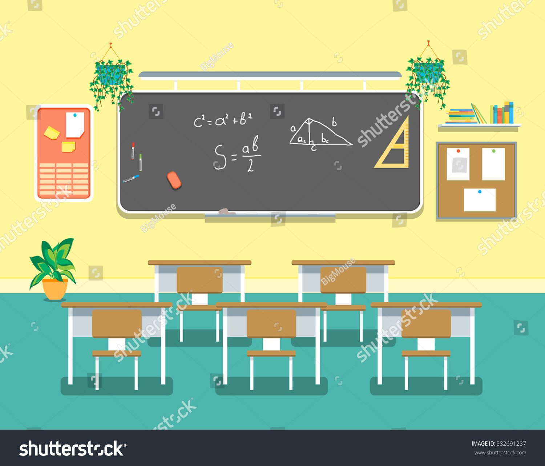Research Design In Classroom Management ~ Cartoon classroom design interior school college stock