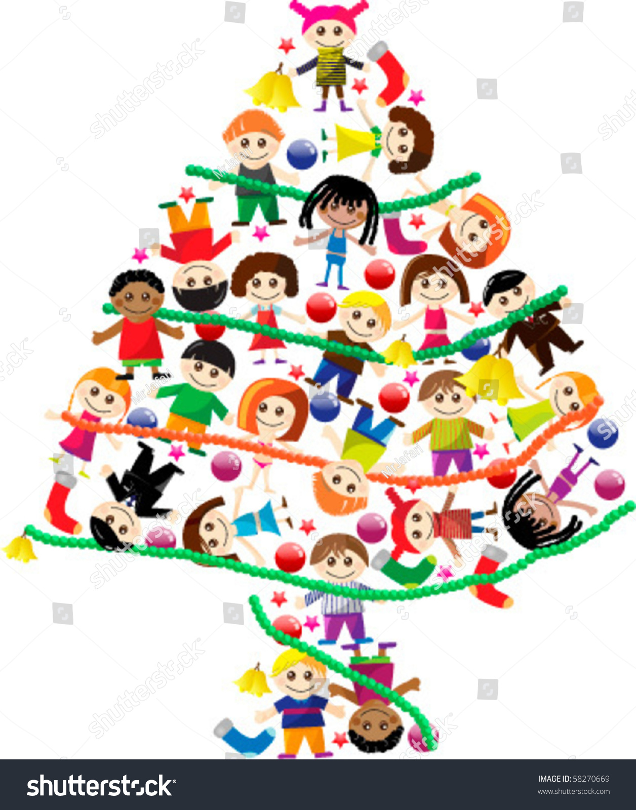 colorful christmas tree kids stock vector 58270669 shutterstock