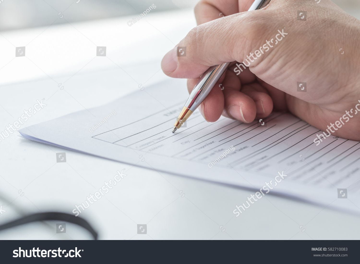 Applicant Filling Company Application Form Document Stock Photo ...