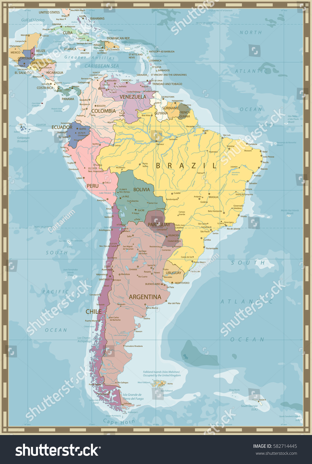 South America Political Map Lakes Rivers Vintage Stock Vector