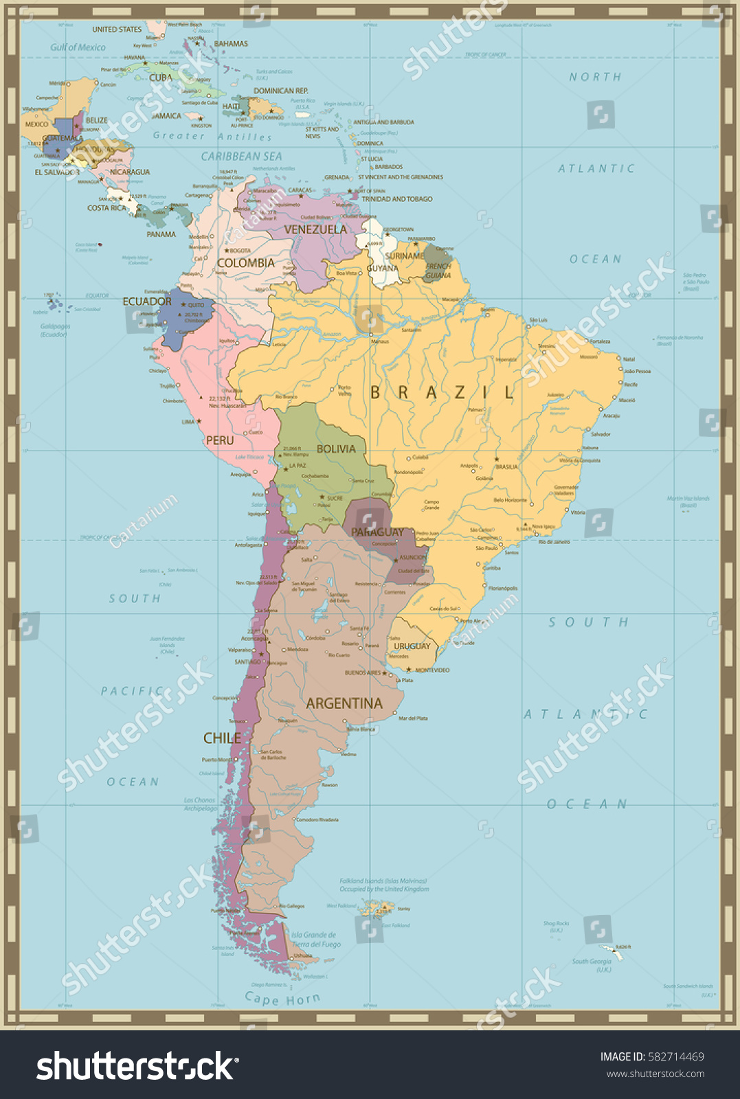 South america political map lakes rivers vectores en stock 582714469 south america political map with lakes and rivers old colors gumiabroncs Image collections