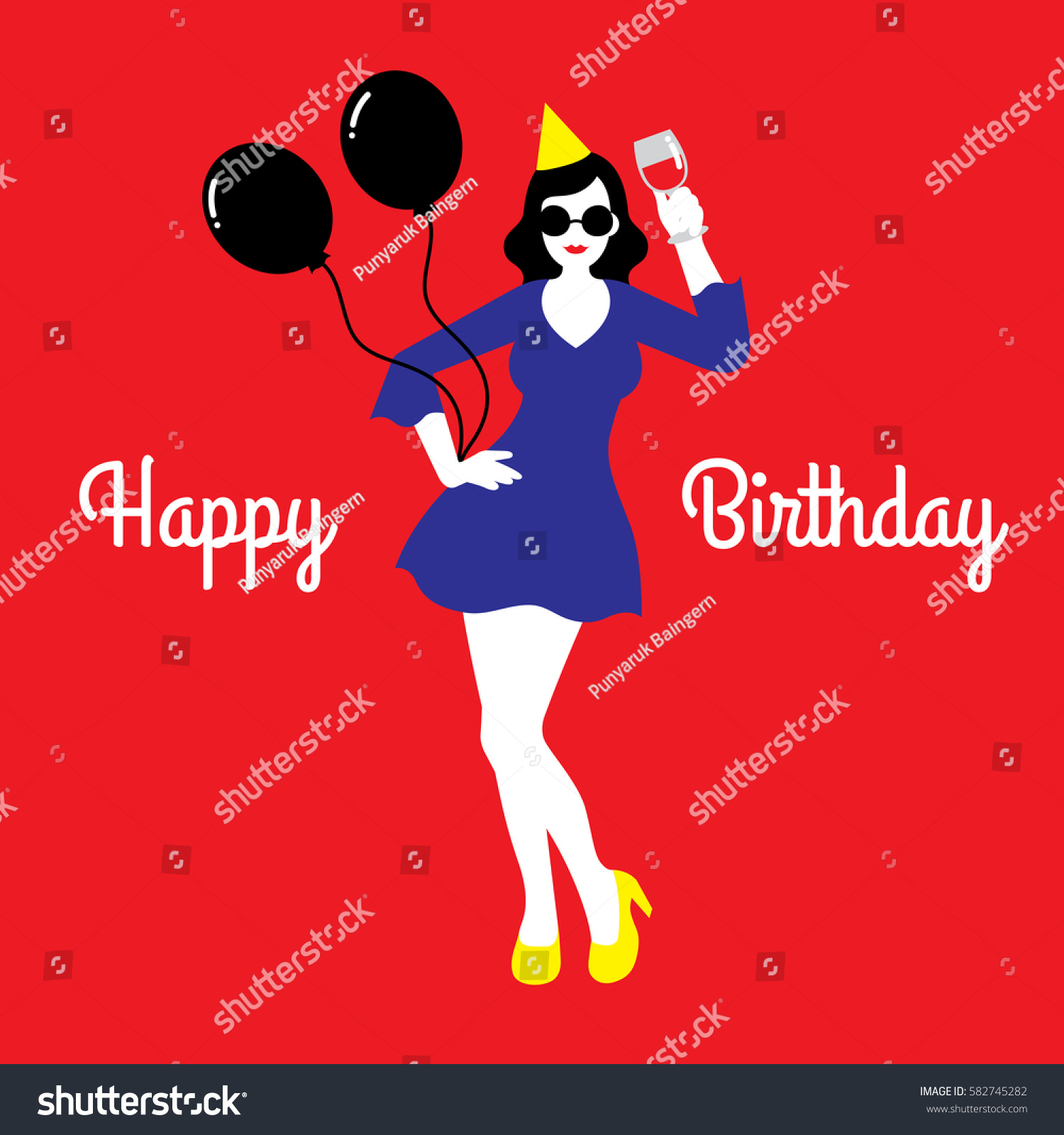 Vector Illustration Of A Happy Birthday Card With Young Woman Wearing Yellow Cocktail Dress