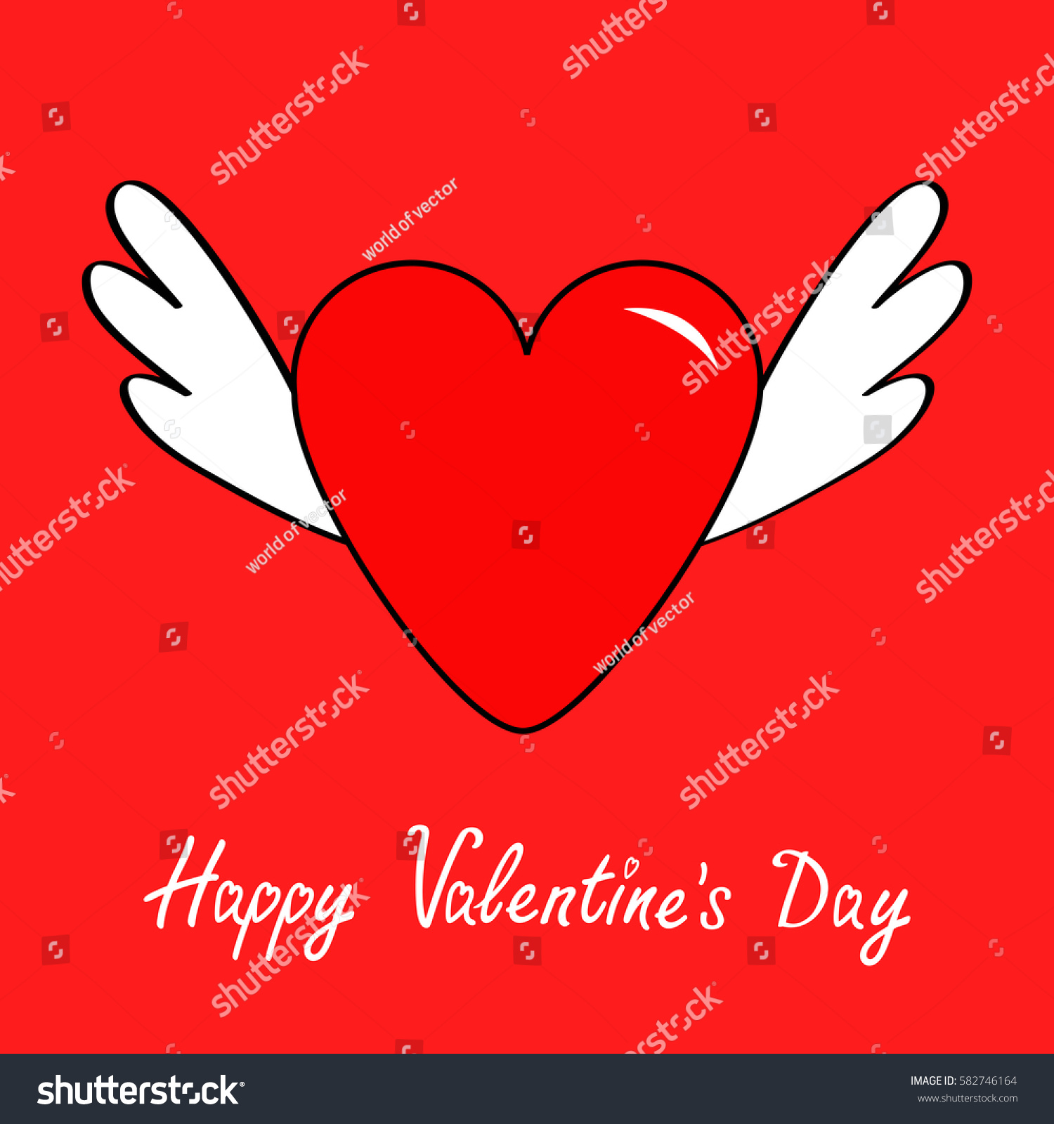 Happy valentines day big heart wings stock illustration 582746164 big heart with wings cute cartoon contour sign symbol winged buycottarizona Image collections