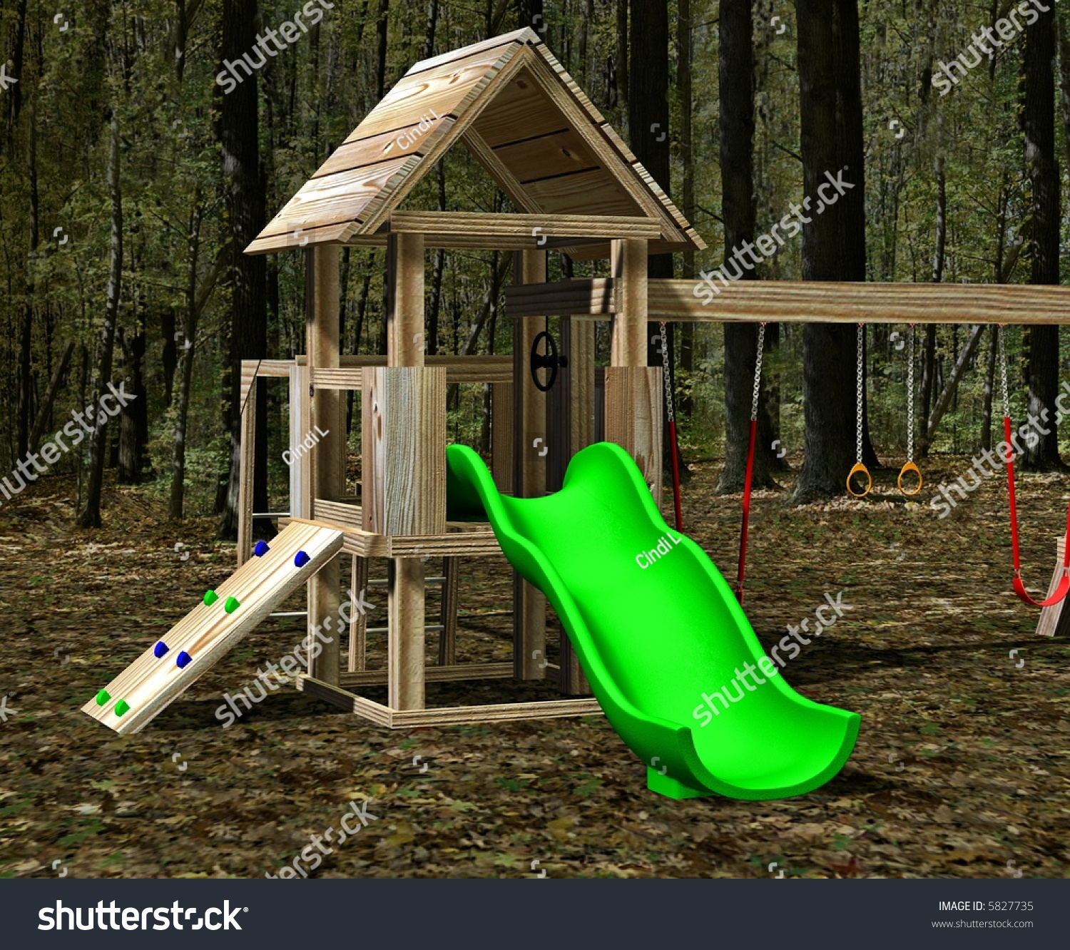 playground kids includes tire swing swings stock illustration