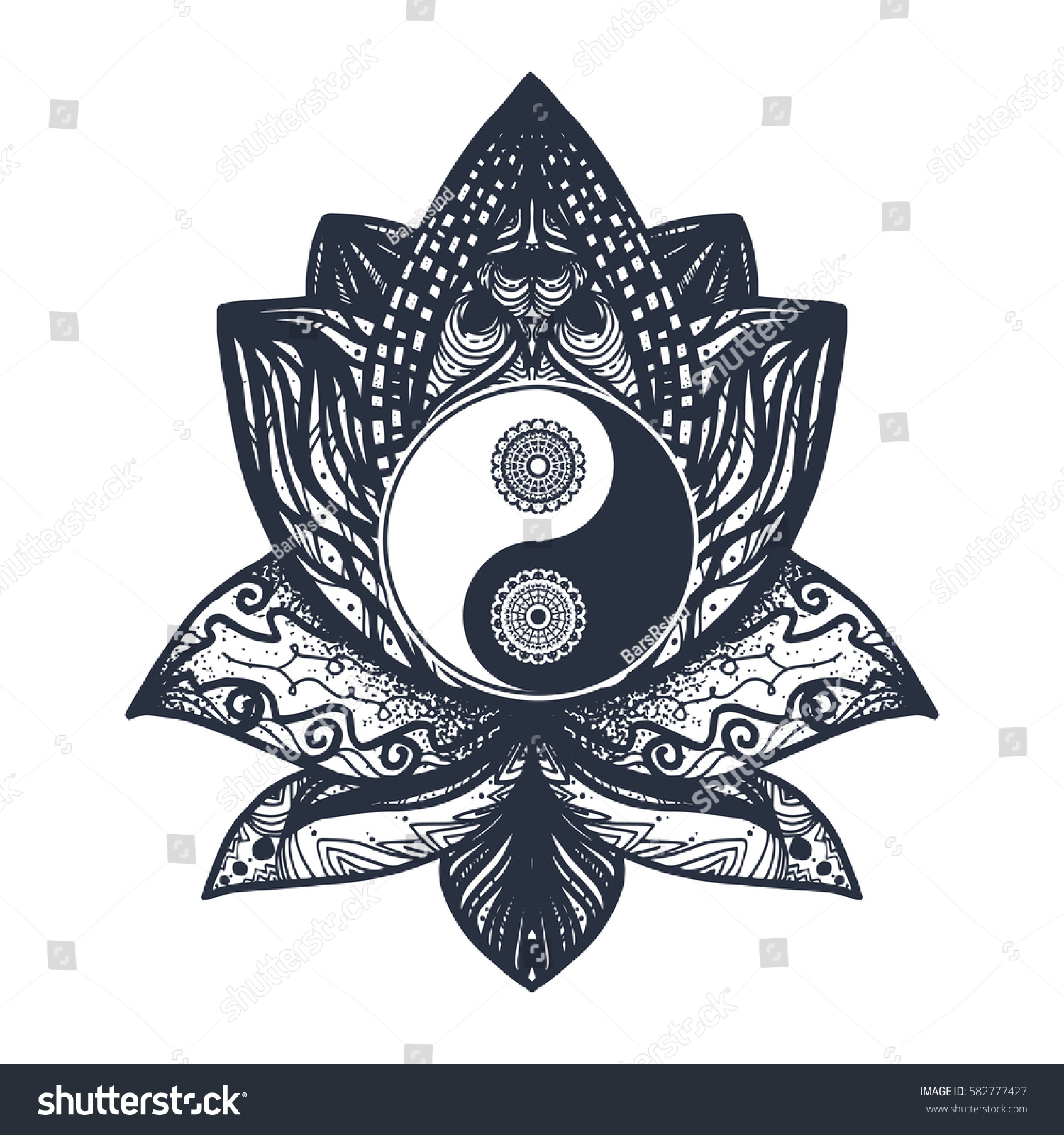 Vintage Yin and Yang in Mandala Lotus. Tao symbol for print, tattoo,  coloring