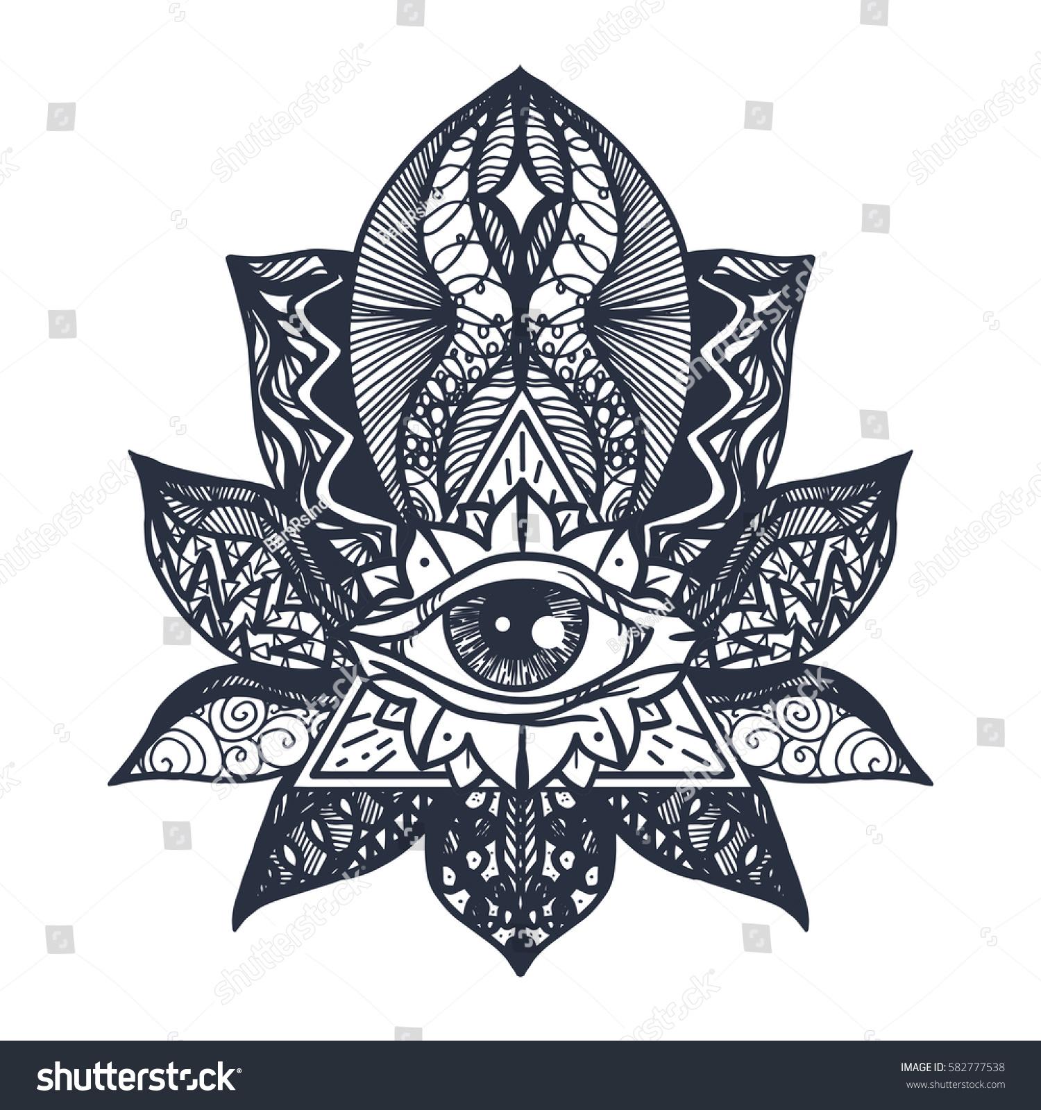 Vintage all seeing eye mandala lotus stock vector 582777538 vintage all seeing eye in mandala lotus providence magic symbol for print tattoo buycottarizona