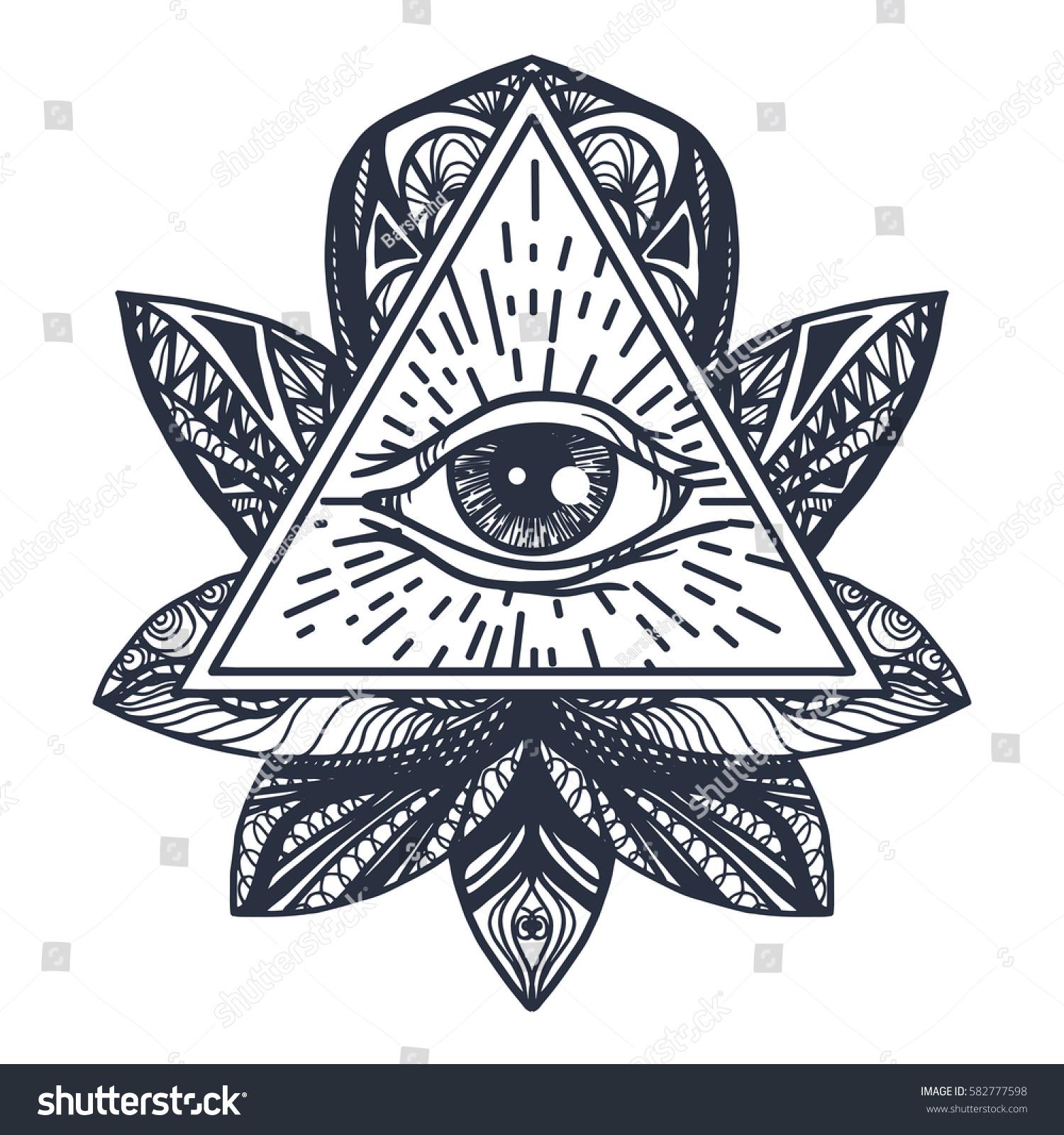 Vintage all seeing eye mandala lotus stock vector 582777598 vintage all seeing eye in mandala lotus providence magic symbol for print tattoo buycottarizona