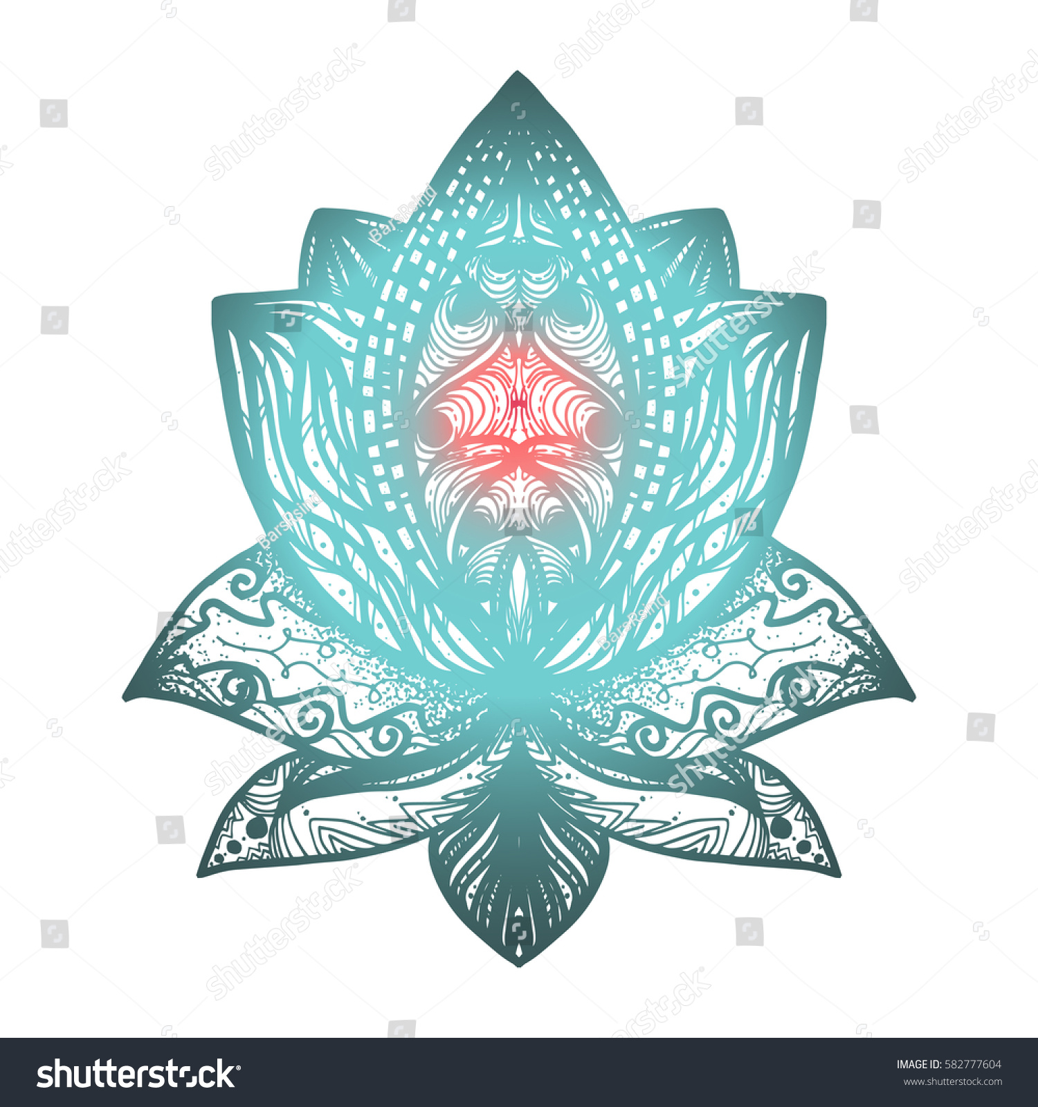 Flower Lotus Magic Symbol Print Tattoo Stock Vector Royalty Free