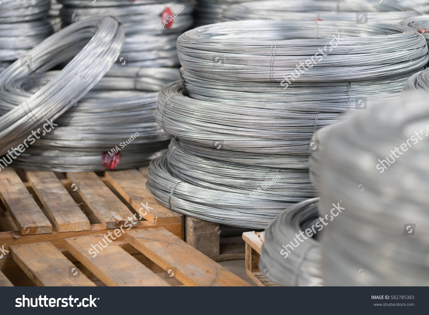 Rolled Wire Production Factory Close Stack Stock Photo Edit Now Mesh Wiring In Up Of Rod Inside The