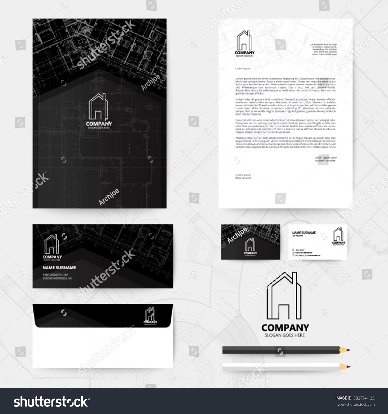 Corporate identity template design blueprint background stock vector corporate identity template design with blueprint background business realestate wajeb Images