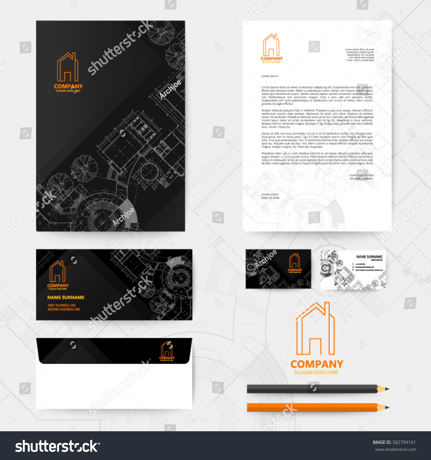 Corporate identity template design blueprint background stock corporate identity template design with blueprint background business realestate malvernweather Image collections