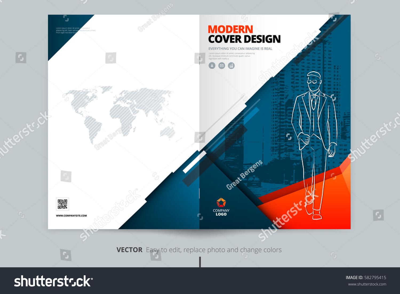 Poster design landscape - Brochure Cover Design Blue Orange Corporate Business Landscape Template For Brochure Report