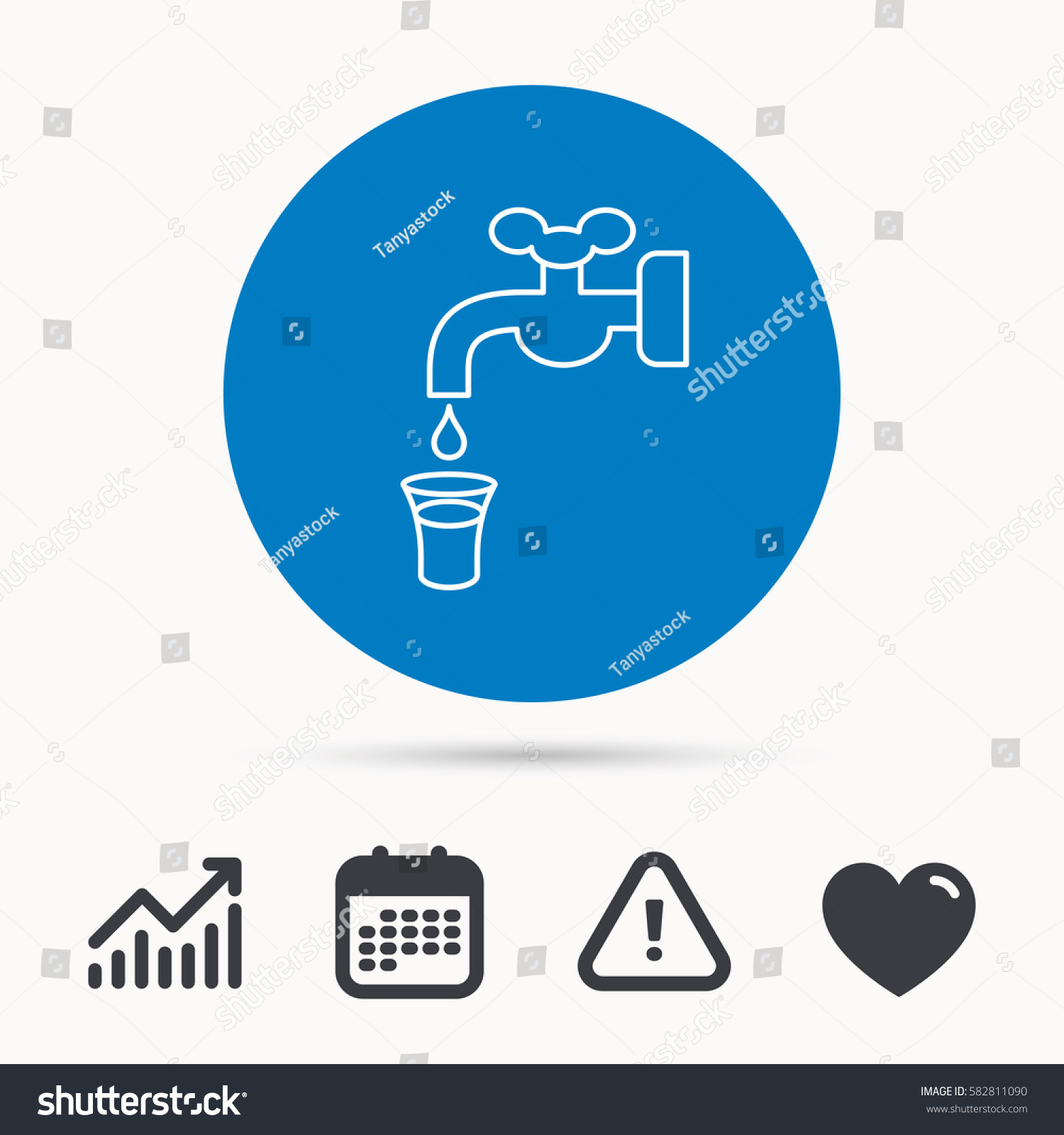 Save Water Icon Crane Faucet Drop Stock Vector (2018) 582811090 ...