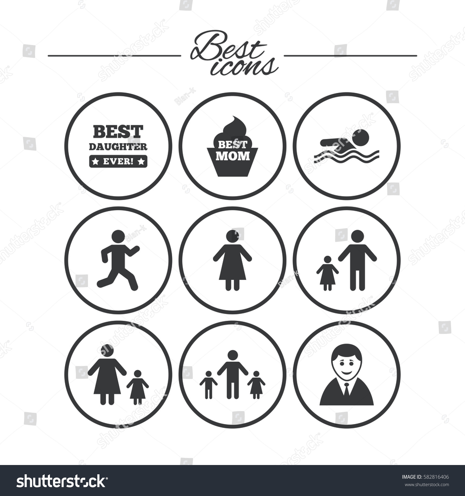 People family icons swimming pool person stock vector 582816406 people family icons swimming pool person signs best mom father and biocorpaavc