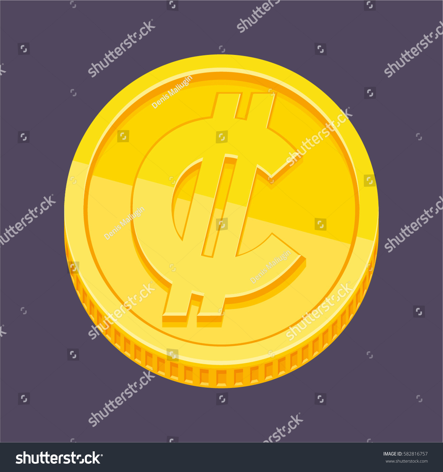 Currency Symbol Costa Rican Salvadoran Colon Stock Vector Hd