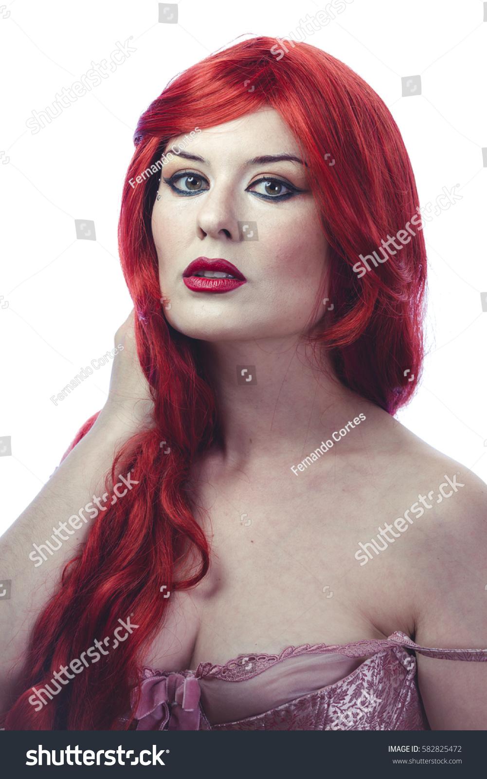 Beautiful Spanish Woman Lace Dress Great Stock Photo