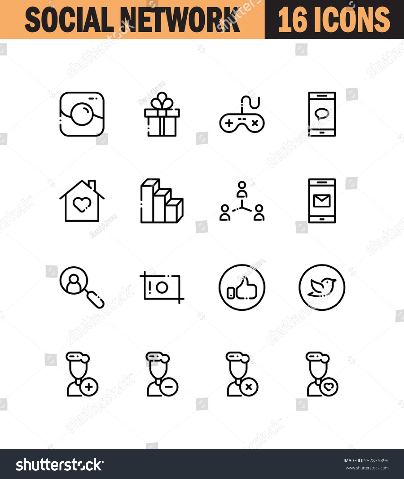 Social network flat icon set collection stock vector 582836899 collection of high quality outline symbols for web design biocorpaavc Gallery