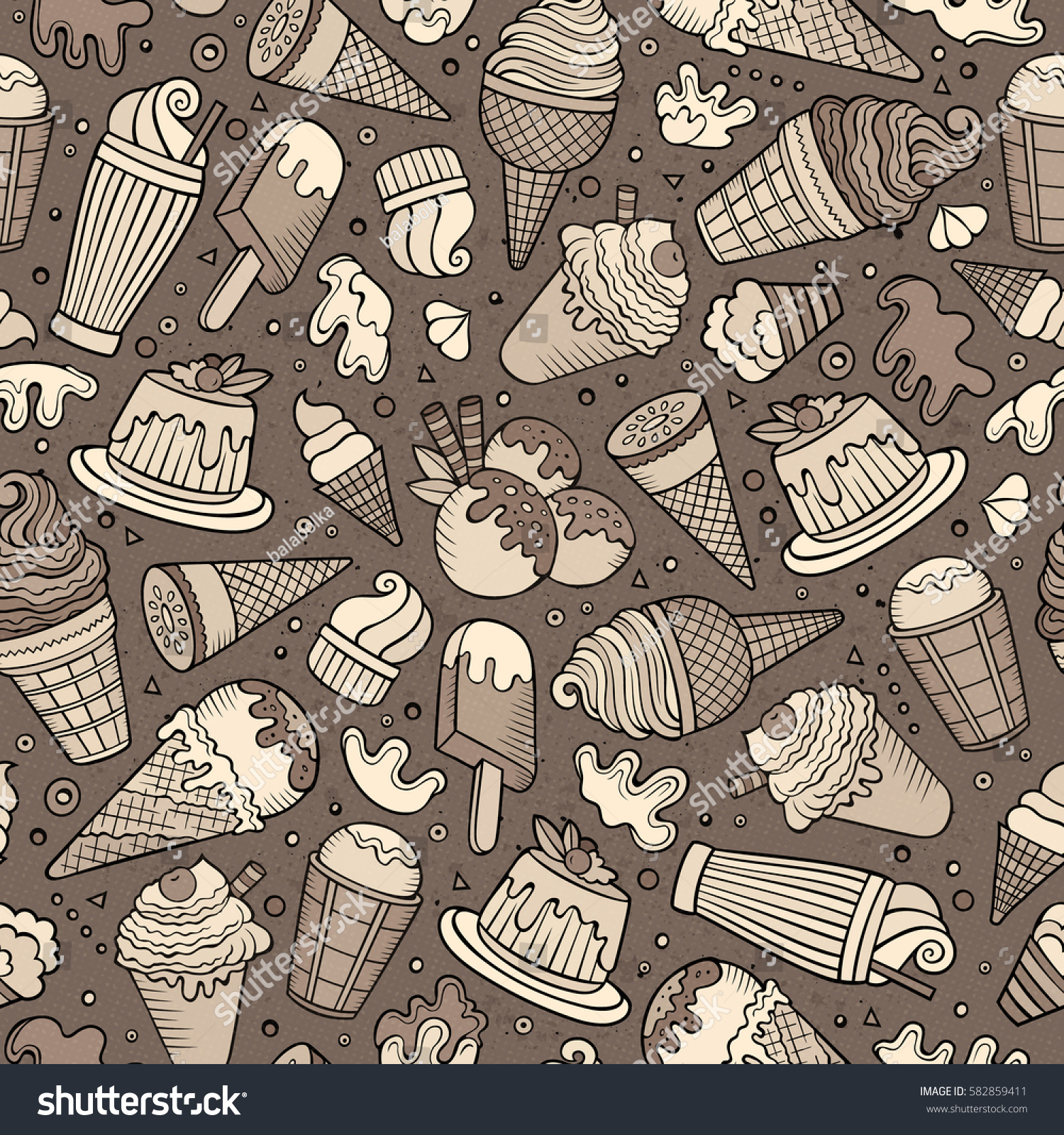 Seamless Pattern With Hand Drawn Watercolor Ice Cream: Cartoon Handdrawn Ice Cream Doodles Seamless Stock Vector