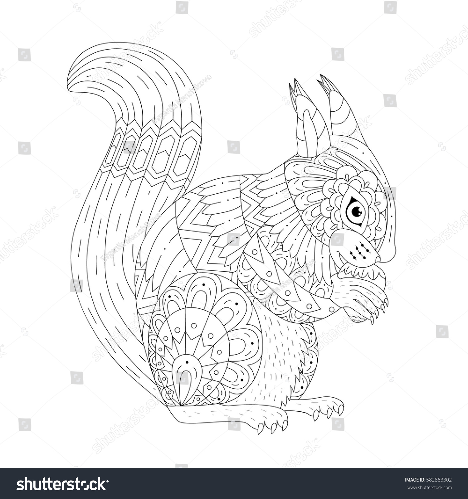 Vector Illustration Of The Squirrel Isolated Black And White Artwork In Ethnic Zentangle