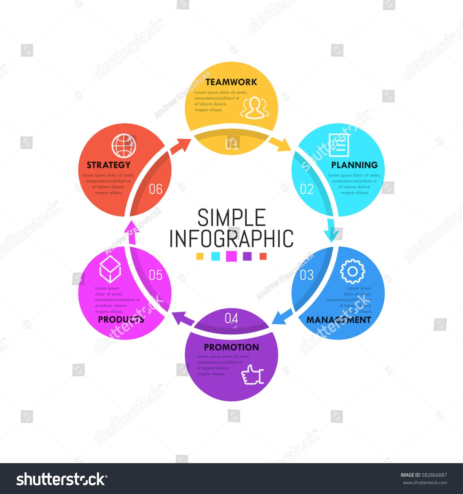 Modern Infographic Design Template Simple Circular Stock ...