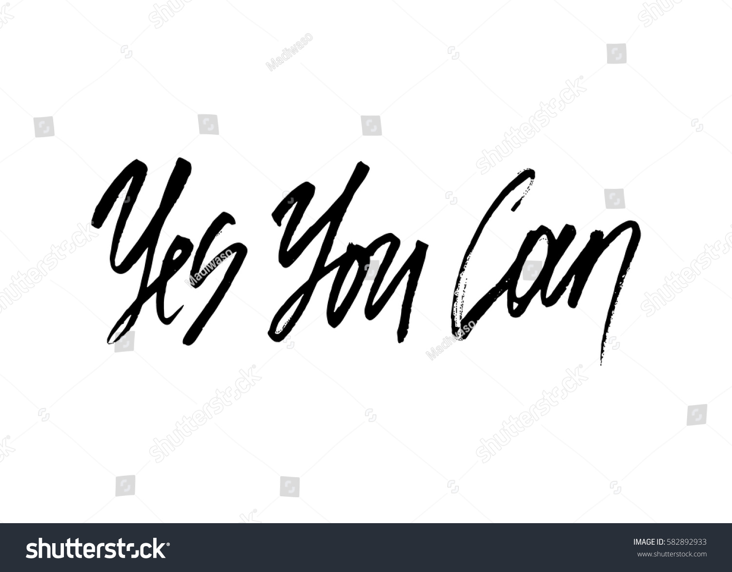 Yes You Can Ink Modern Brush Stock Vector 582892933