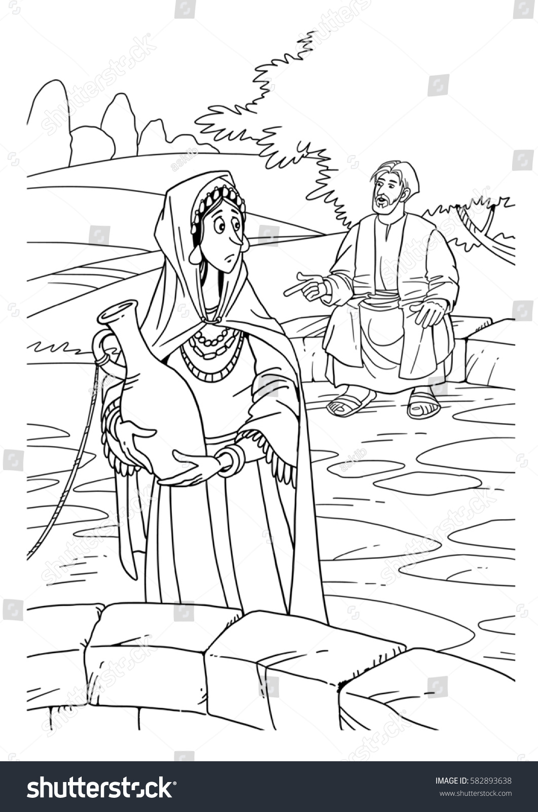 Royalty Free Stock Illustration of Jesus Talking Samaritan Woman ...