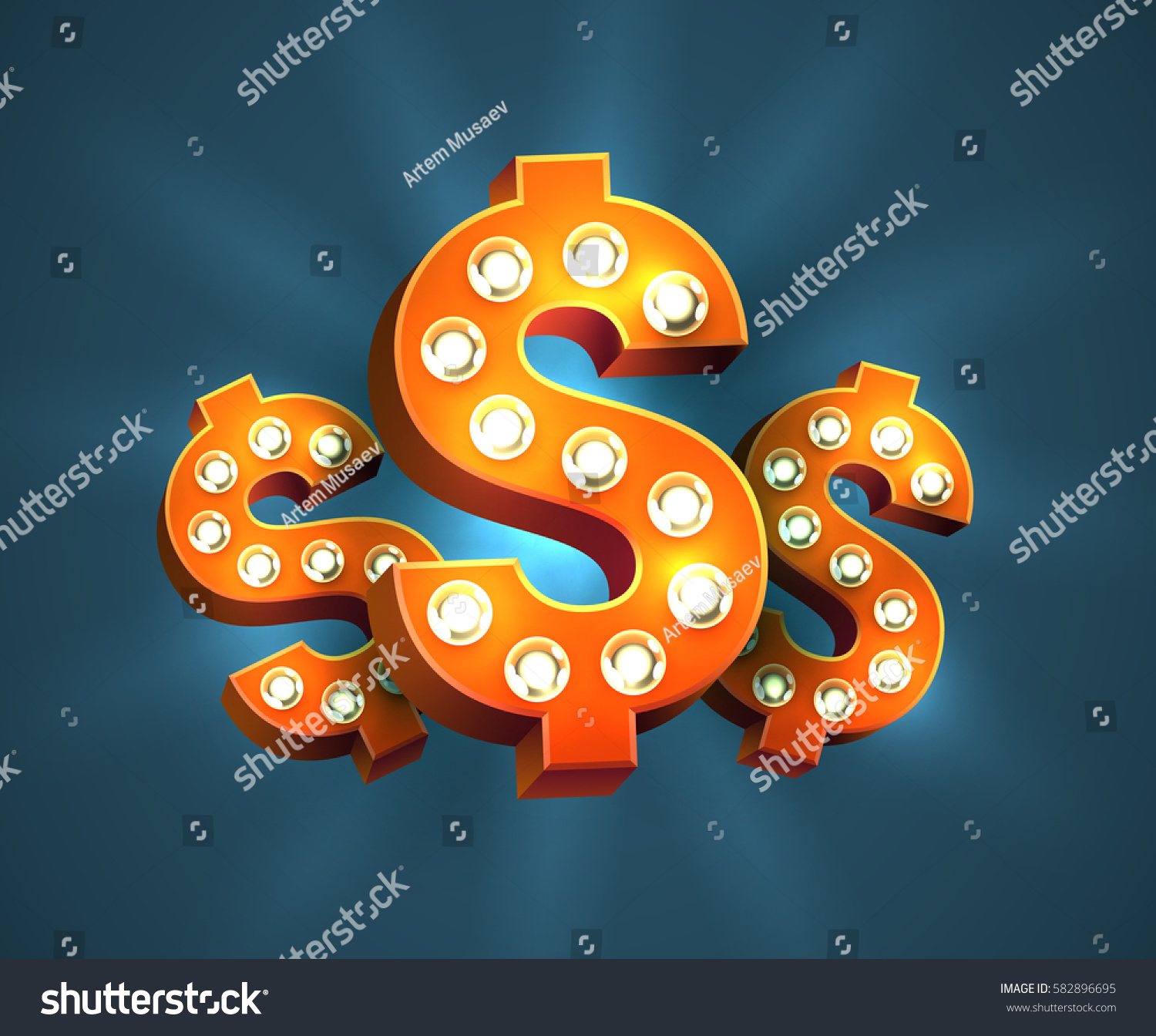 Cool 3 D Red Dollar Signs Light Stock Vector Royalty Free