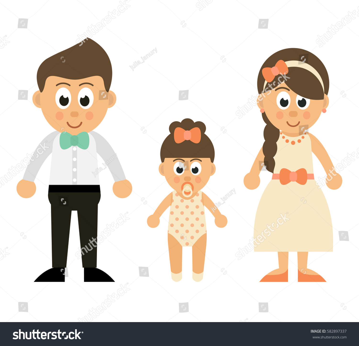Cartoon Baby Girl Mother Father Stock Vector Royalty Free 582897337