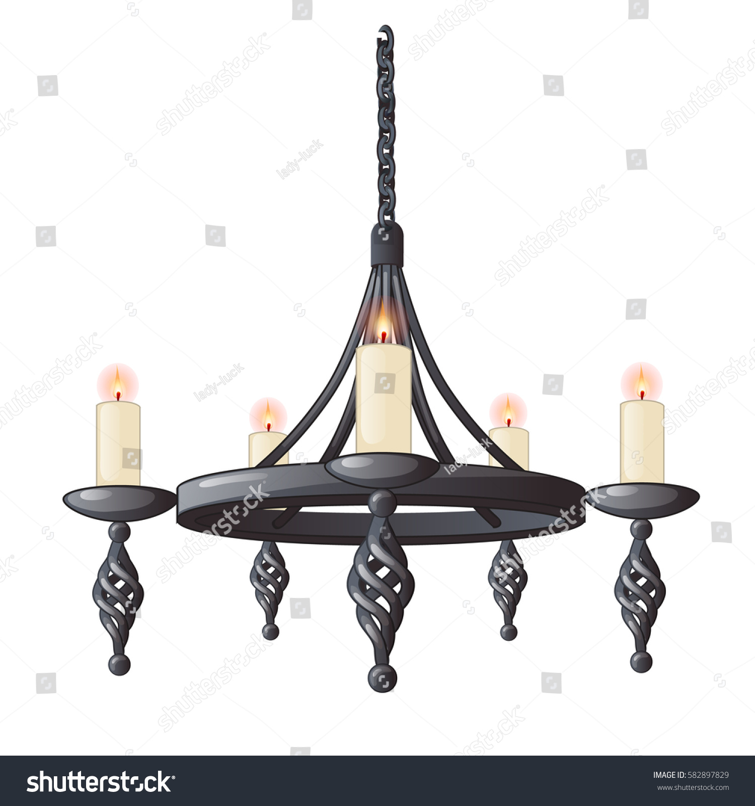 Massive Steel Chandelier Candles Me val Style Stock Vector