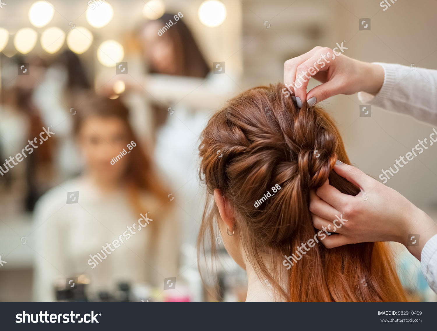 Beautiful Redhaired Girl Long Hair Hairdresser Stock Photo Edit Now
