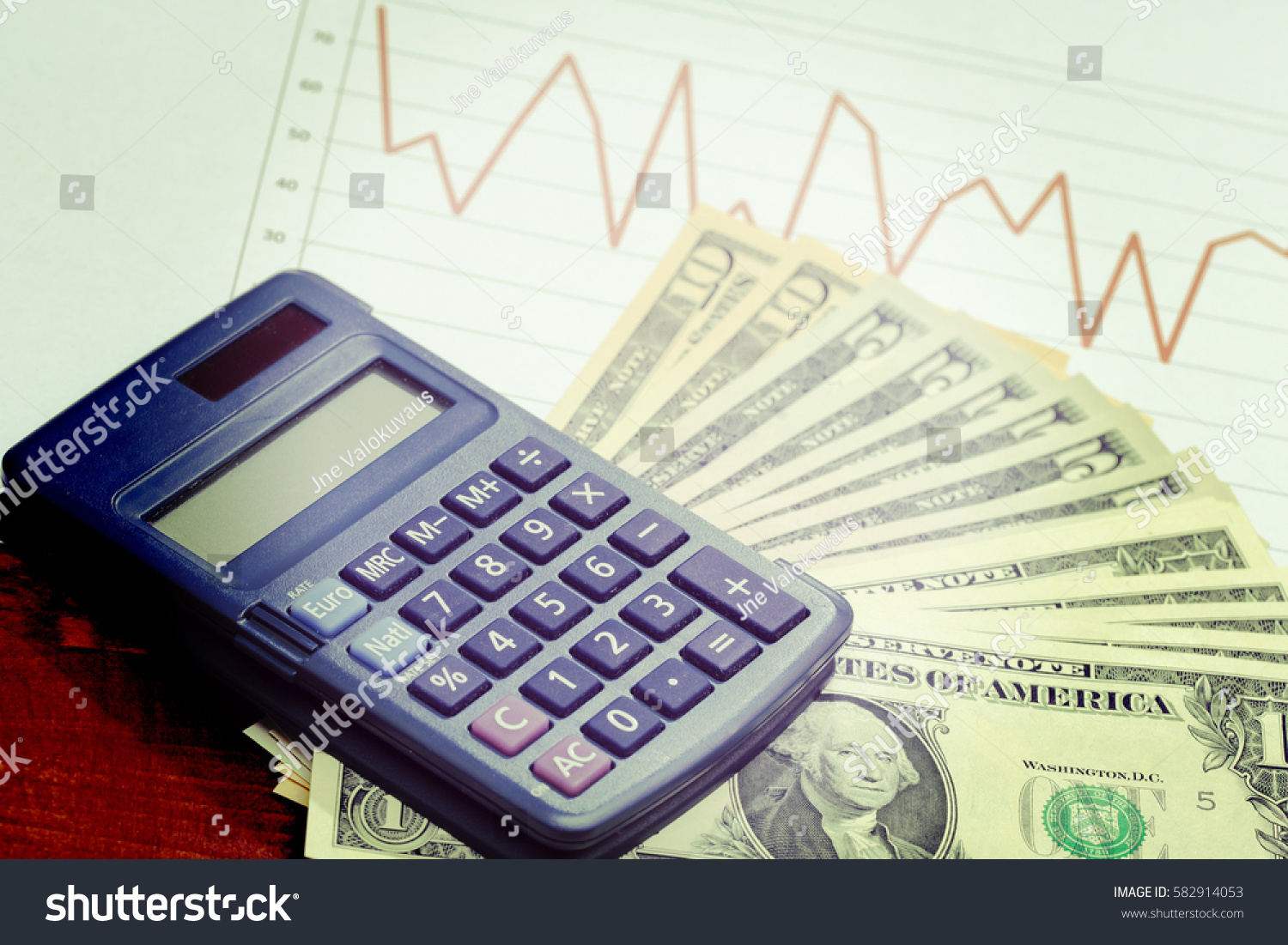 Us dollars calculator line chart sales stock photo 582914053 us dollars and a calculator with line chart for sales or stock market data business geenschuldenfo Image collections