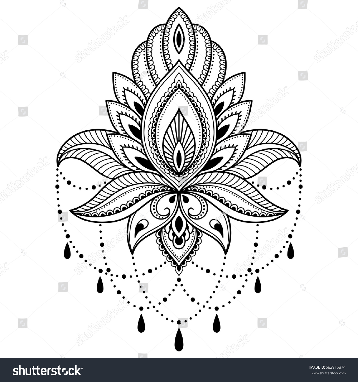 Mehndi Lotus Flower Pattern Henna Drawing Stock Vector Royalty Free