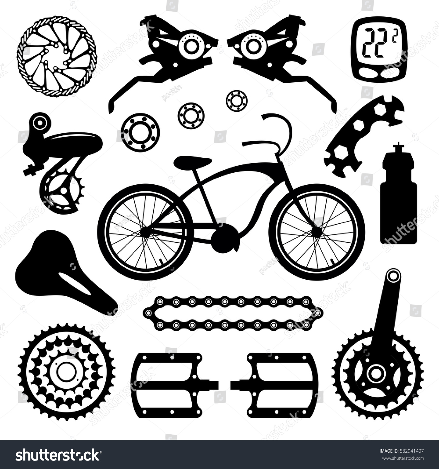 Bicycles Set Bicycle Parts Stock Vector Royalty Free 582941407 Pictures Picture Of