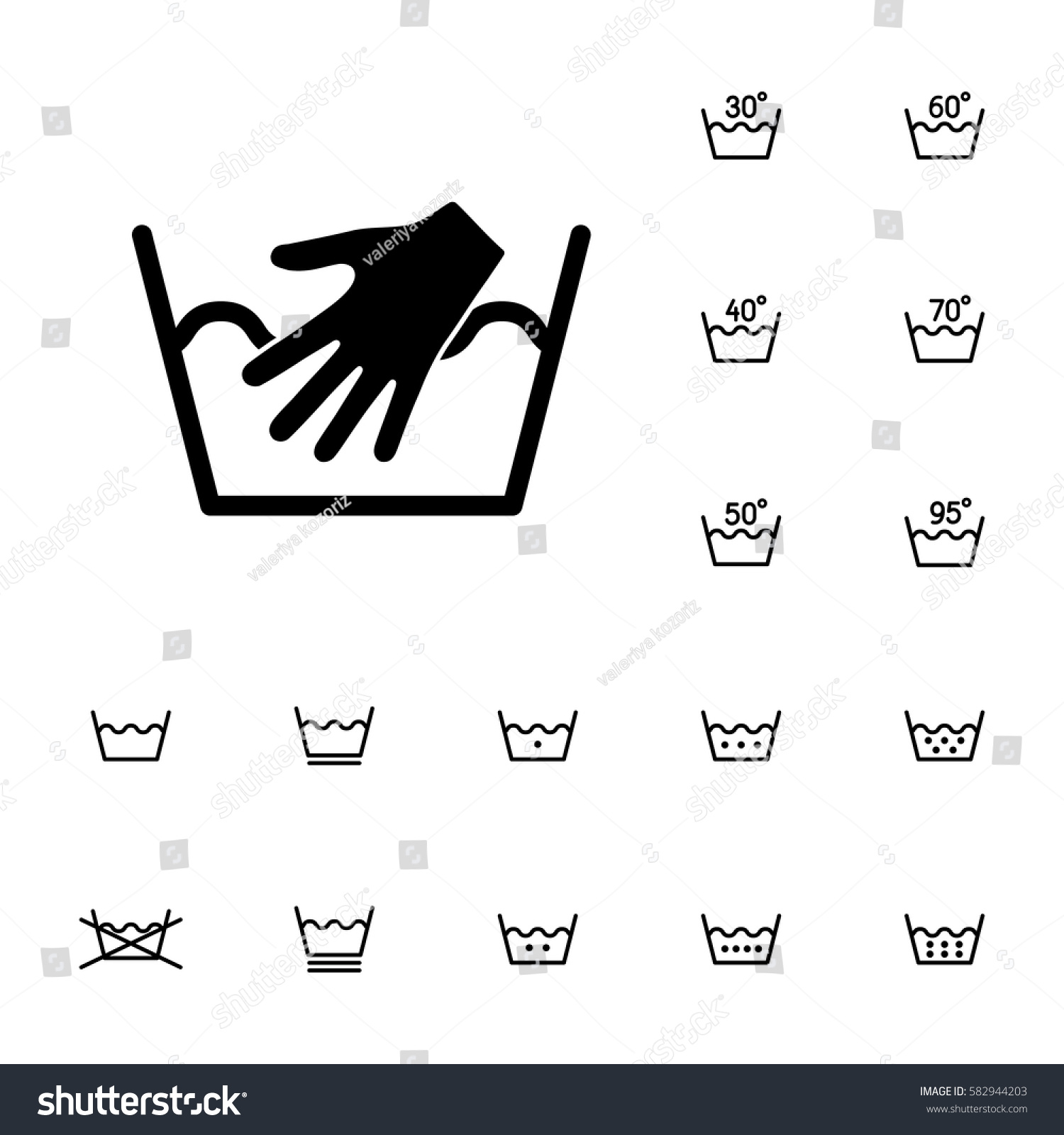 Machine Washing Laundry Symbols Icons Set Stock Vector 582944203