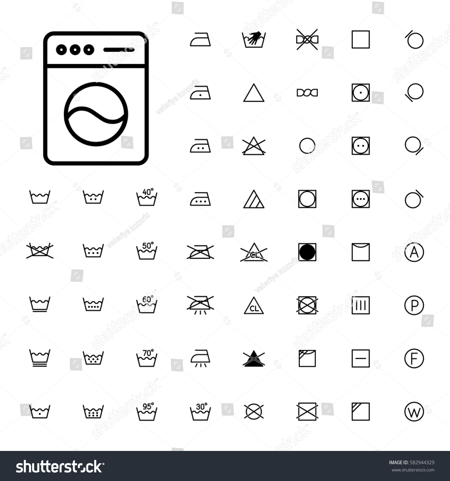 Machine Washing Laundry Symbols Icons Set Stock Vector Royalty Free