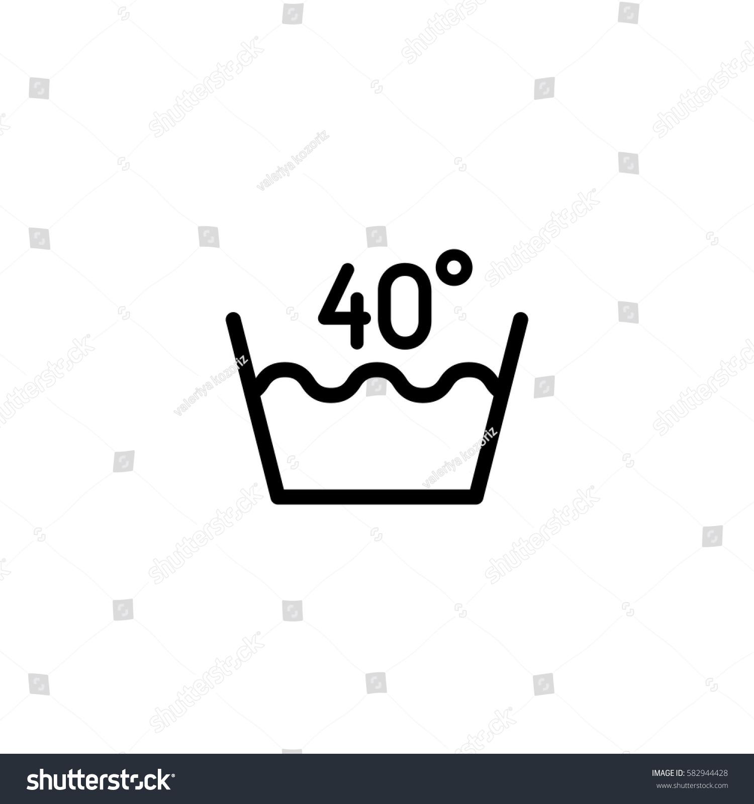 40 Degrees Washing Laundry Symbol Line Stock Photo Photo Vector