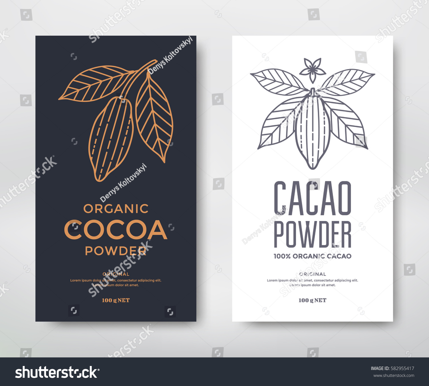 Cocoa Packaging Design Template Line Style Stock Vector 582955417 ...