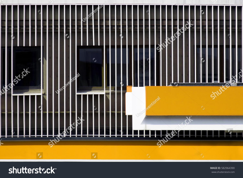 windows visible through jalousie blinds louvers stock photo 582964390 shutterstock. Black Bedroom Furniture Sets. Home Design Ideas