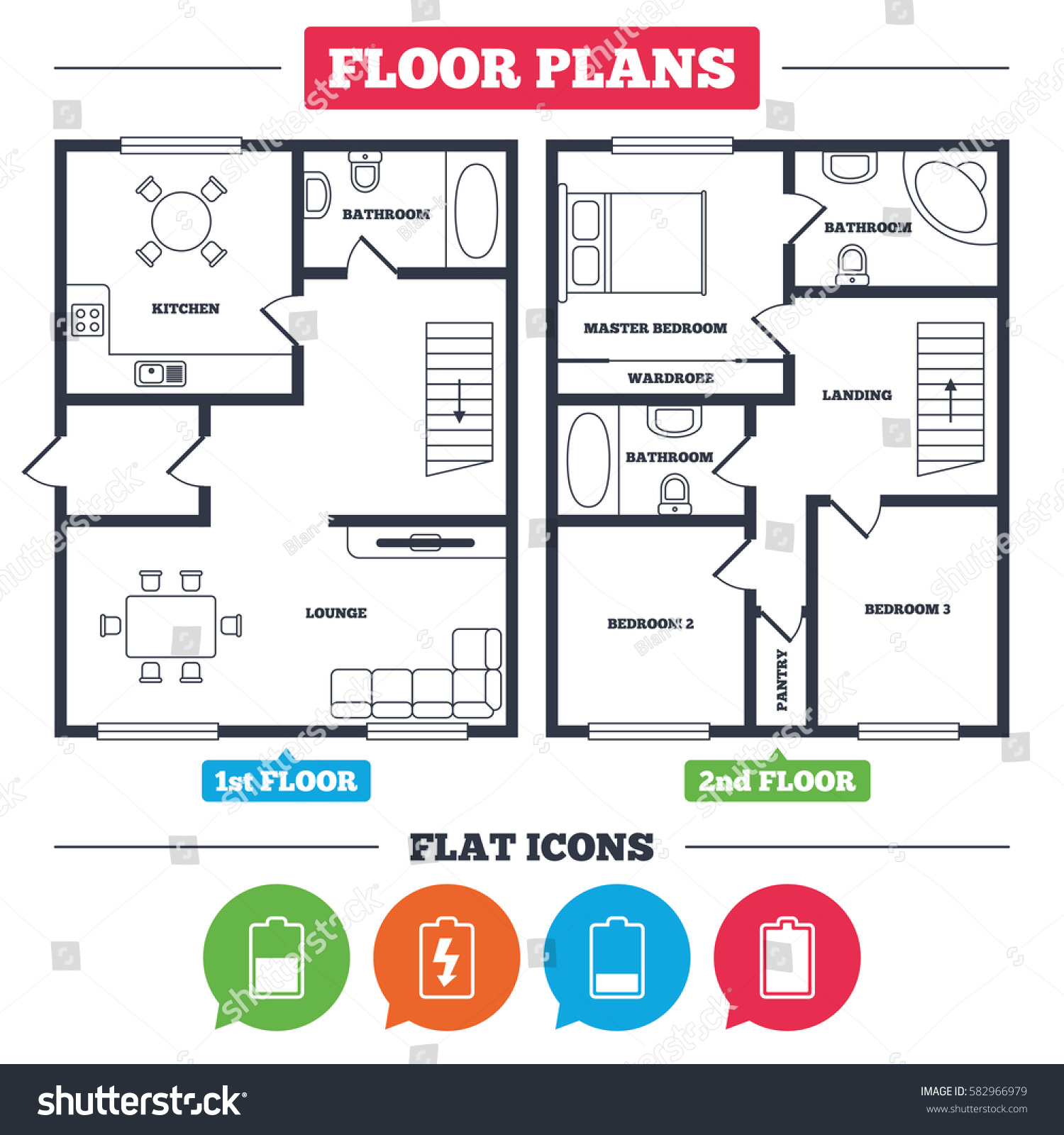 Architecture Plan With Furniture. House Floor Plan. Battery Charging Icons.  Electricity Signs Symbols