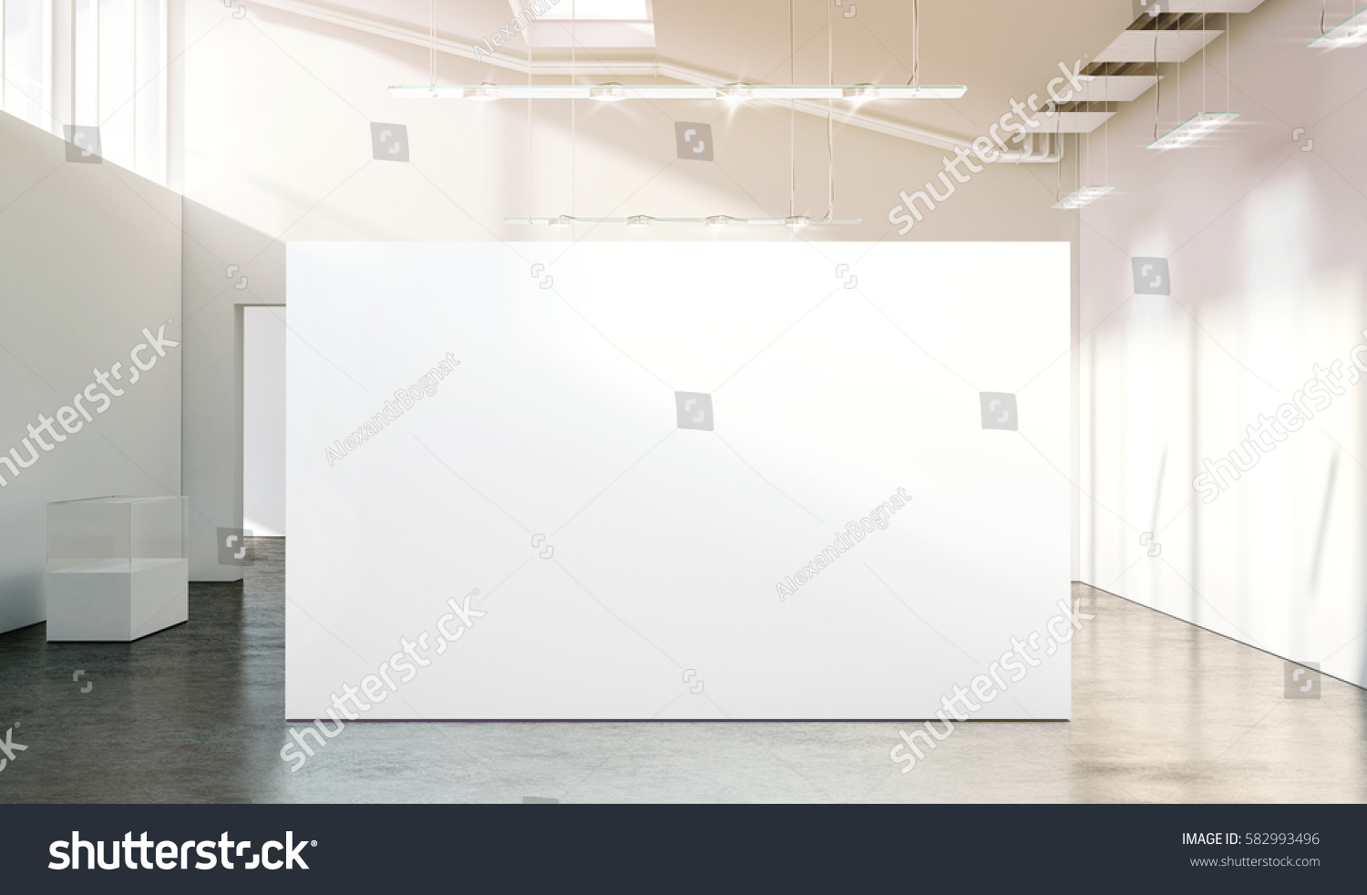 Modern Exhibition Stand Mockup : Blank white wall mockup sunny modern stock illustration