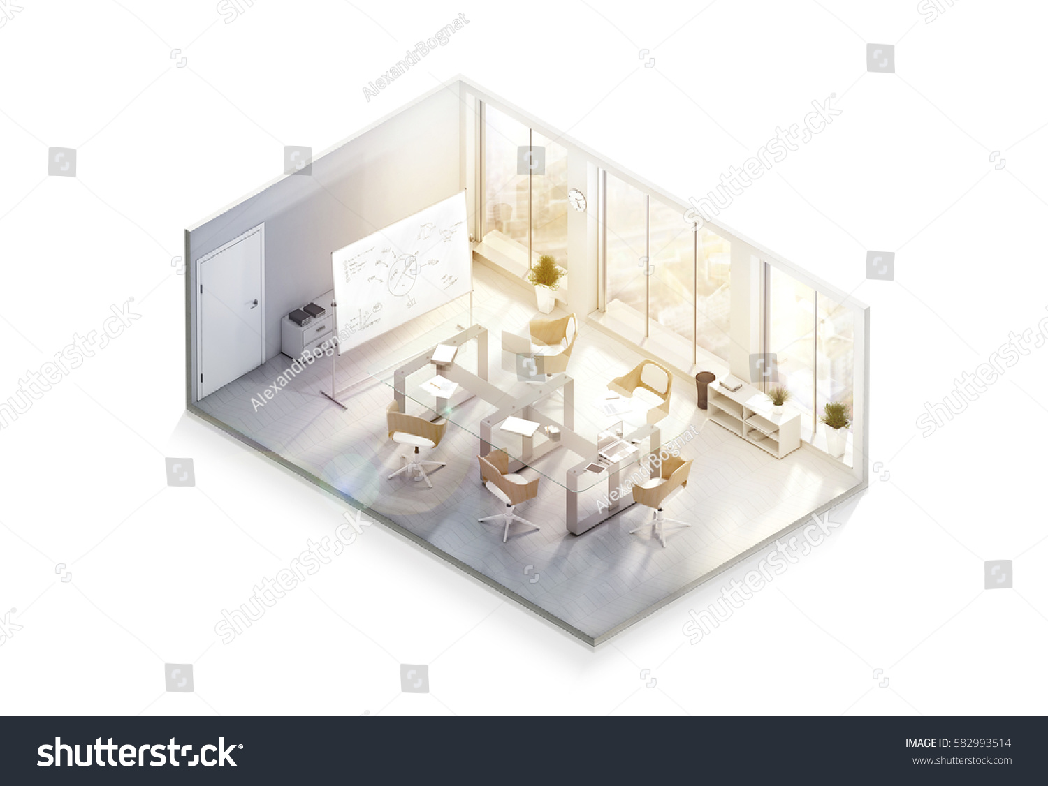 Modern Office Interior Design Mockup Isometric View Isolated 3d Rendering Empty Conference