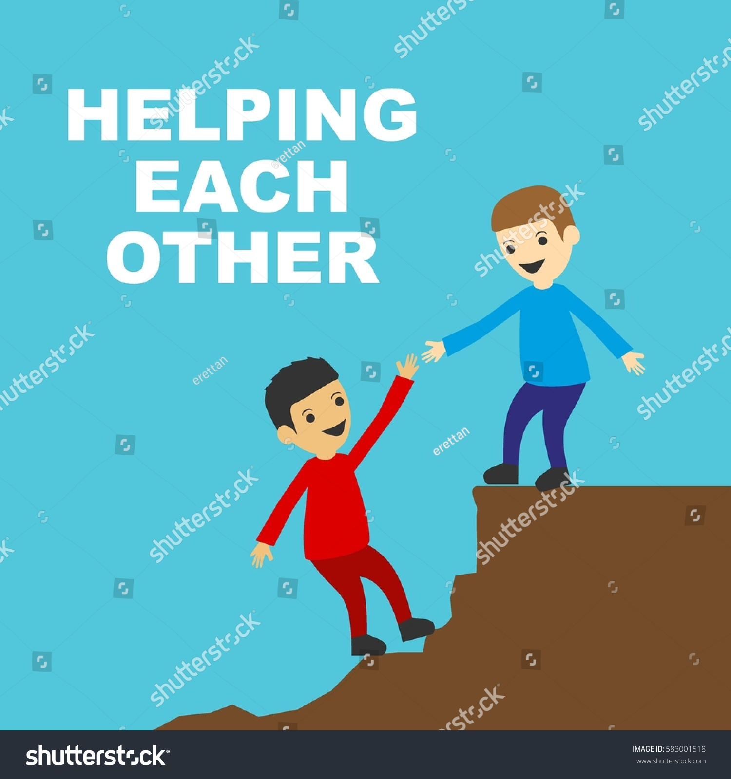 Helping Each Other: Help Each Other Illustration Concept Stock Vector