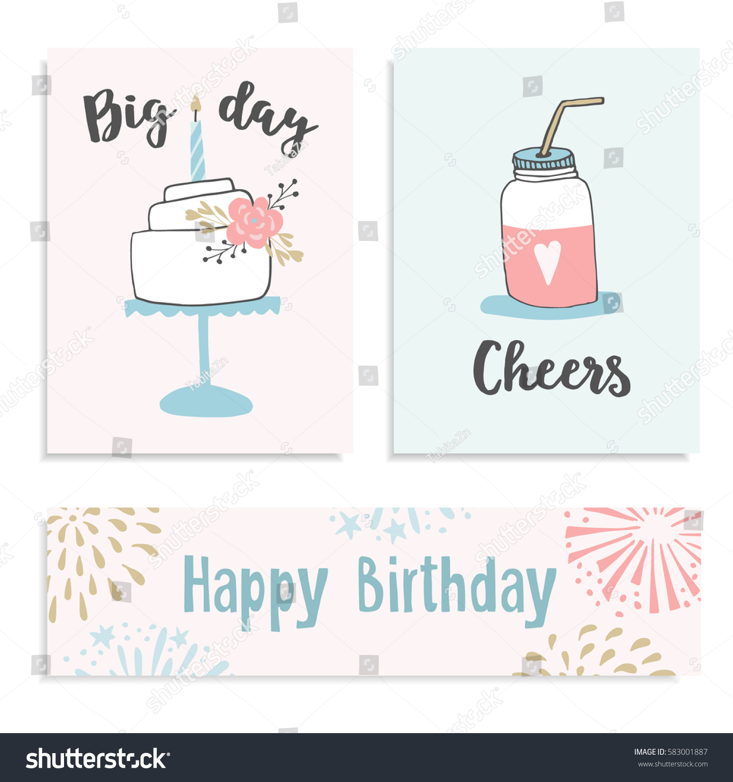 Set Birthday Greeting Cards Invitations Cake Stock Vector