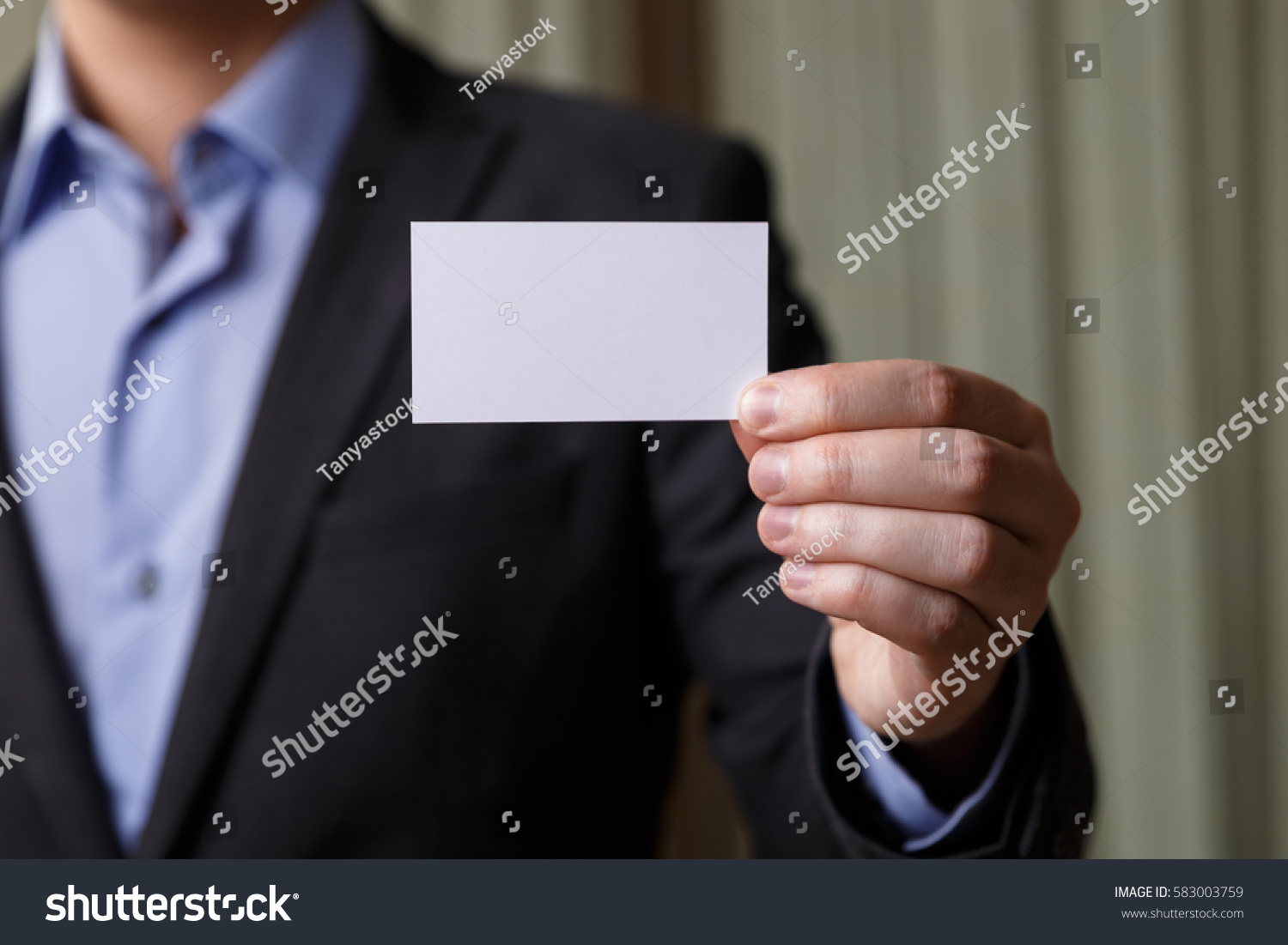 Businessman Holding Visit Card Man Showing Stock Photo (Safe to Use ...