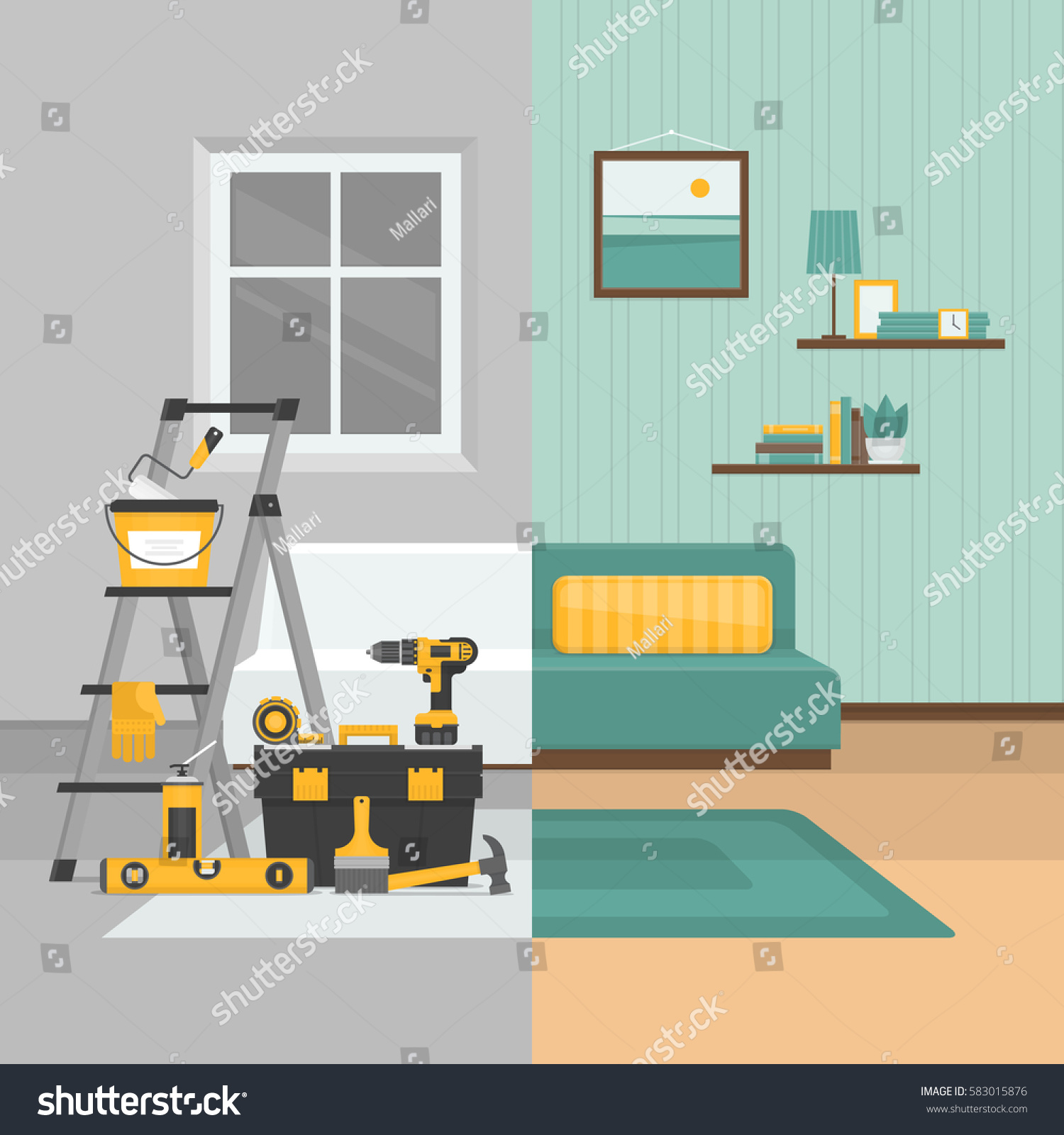 Room Before After Repair Home Interior Stock Vector
